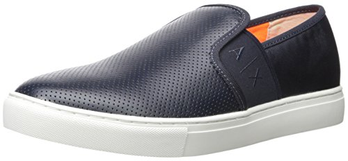 A|X Armani Exchange Men's Microperf Pu Slip on Fashion Sneaker, Navy, 43 EU/10 M US