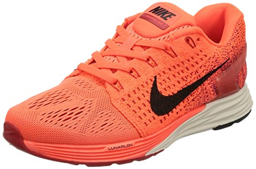 nike womens lunarglide 7 running trainers 747356 sneakers shoes (US 8, hyper orange black university red 801)